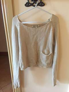 Forever 21 Cropped Knitted Sweater in Beige (Size M)