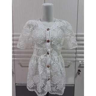 Brukat Atasan/dress putih / m