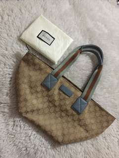 Authentic Gucci Monogram Canvass Web Boat Bag