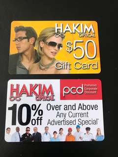 50$ hakim gift card and 10% off card