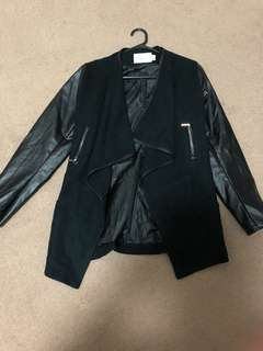 Coat faux leather sleeves