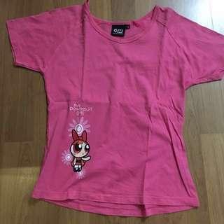 Powerpuff kid round neck short sleeves shirt