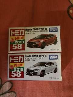 Tomica No.58 Honda Civic Type R一對(行版有貼)