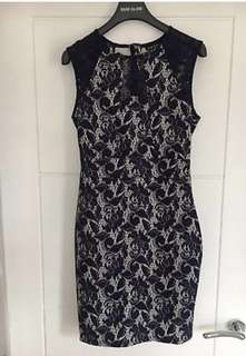 Warehouse Navy BLUE lace floral dress bodycon