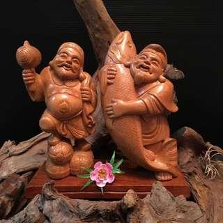 黄扬木财神 《 大黑天 、惠比寿 》 高 9寸 宽 8寸 深 3寸