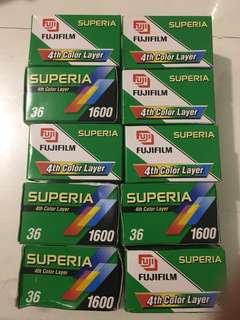 10 Rolls Fujifilm Superia 1600 36 exp. expired