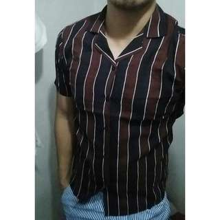 Brown Black Vertical Stripes Buttondown Stripes