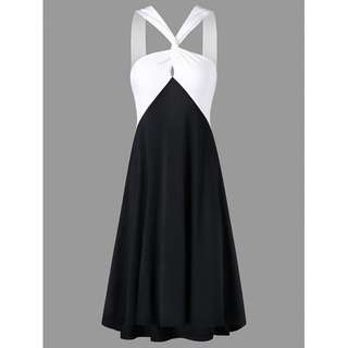 Color Block Low Back Dress TG