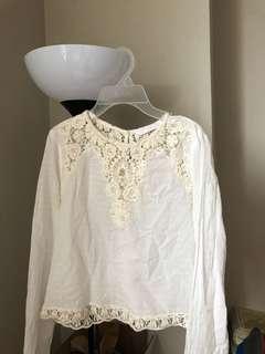 White Zara detailed top xs