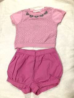2Y BUNDLE: Gingersnaps Pink Top & Gymboree Pink Shorts