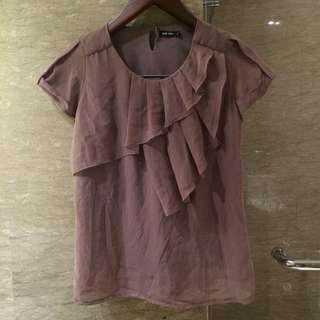Brown Chiffon blouse with furring