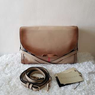Authentic Burberry Horse Ferry Check Canvass Crossbody Bag