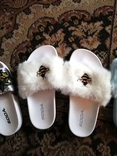 White Bee Furry Slippers