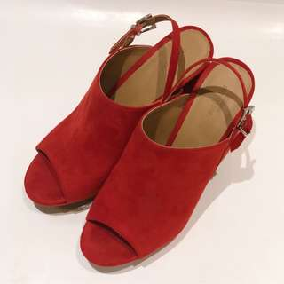 Urban Outfitters Red Suede Heels with Adjustable Straps