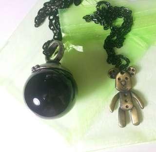潮黑中性桌球戒指頸鍊 Black snooker ball ring black unisex trendy necklace
