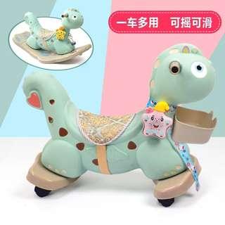寶寶木馬帶音樂故事機塑料玩具嬰兒周歲搖搖馬生日禮物兒童滑行車兩用置物籃舒適坐墊包裝精美送禮好選