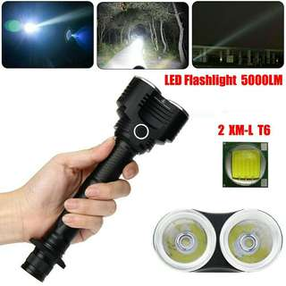 5000 Lumens 5 Modes 2X XM-L T6 LED Adjustable Flashlight