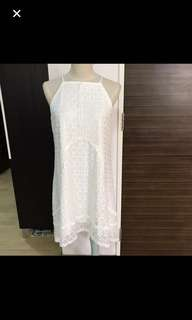 CLEARANCE SALES {Women's Fashion - Dress} BN Super Gurl Brand Gorgeous & Classy White Lace Sleeveless Spaghetti Top Dress With Back Center Zip