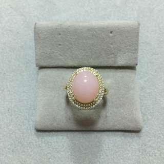 純銀鍍金粉紅蛋白石戒指