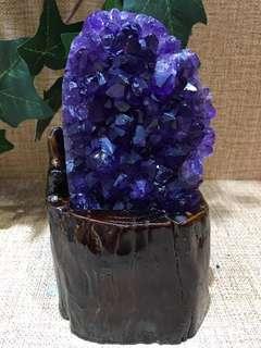 烏拉圭紫晶木座