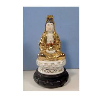 Hand crafted hand painted statue Kwan Yin Goddess Of Mercy wood stand