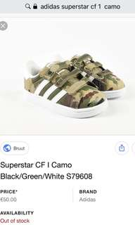 Authentic Adidas superstar CF 1 toddler kids shoes camo