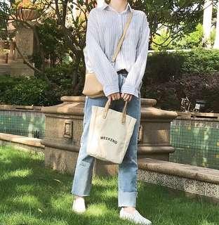 🚚 韓系 無印簡約休閒純色帆布側背包肩背包斜背包手提包子母包 預購