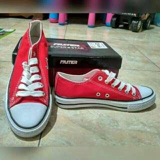 FASTER Sepatu Casual Sneakers Kanvas 1603-03 Red, Converse look alike