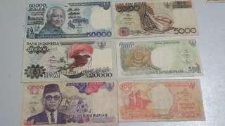 Uang Kertas Lama 50.000, 20.000 10.000, 5.000, 500, 100