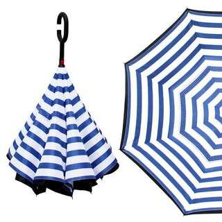 (代購)🈹💥🈹💥 雙層免持式反向傘反骨長柄晴雨傘 男女定制印 藍白色橫間圖案長柄傘子 umbrella ☂