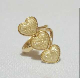 Golden Heart Trios Ring