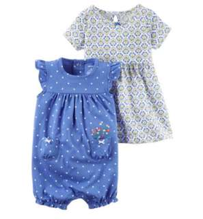 🚚 *9M* Brand New Carter's 3-Piece Dress & Romper Set For Baby Girl #CarouPay