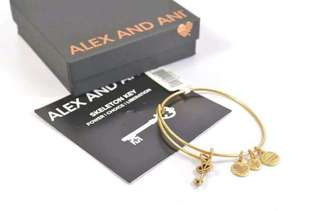 ALEX AND ANI A09EB138RG SKELETON KEY RAFAELIAN GOLD CHARM BANGLE BRACELET