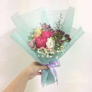 Fresh Flower Bouquet in Roses with Eustomas and Mix Fillers