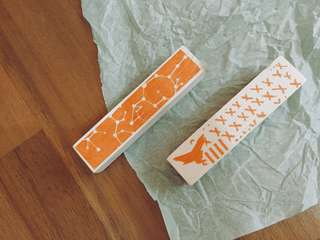 Texture wooden rubber stamp