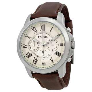 Fossil FS4735 Grant Chronograph Brown Leather Watch