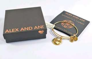 Alex and Ani Aphrodite's Flower Gold Tone Charm Bangle