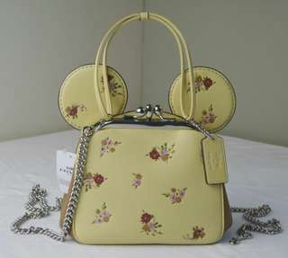 Coach Kisslock with Floral Mix Print and Minnie Mouse Ears 29351 Yellow Leather Cross Body Bag