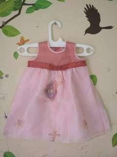 Dress gaun bayi anak perempuan pink baby