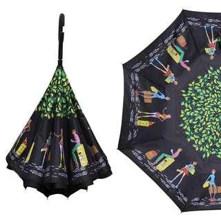 (代購)🈹💥🈹💥 雙層免持式反向傘反骨長柄晴雨傘 男女定制印 型格彩色人像公仔花花圖案長柄傘子 umbrella ☂