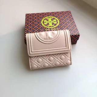 Tory Burch Fleming Short Wallet - Pale Beige Pink