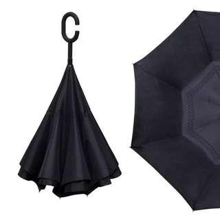 (代購)🈹💥🈹💥 雙層免持式反向傘反骨長柄晴雨傘 男女定制印 型格黑色長柄傘子 umbrella ☂