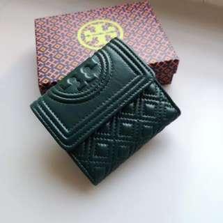 Tory Burch Fleming Short Wallet - dark green