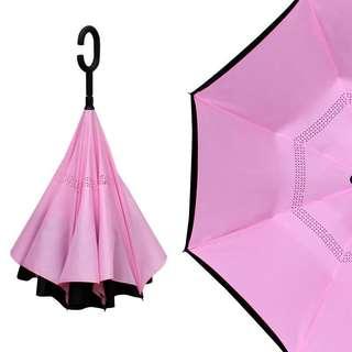 (代購)🈹💥🈹💥 雙層免持式反向傘反骨長柄晴雨傘 男女定制印 浪漫少女主義粉紅色 長柄傘子 umbrella ☂