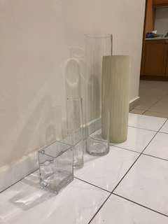 [Set of 3] Glass vase +  ceramic vase