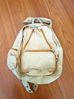 Genuine Leather Yellow Beige Color Backpack