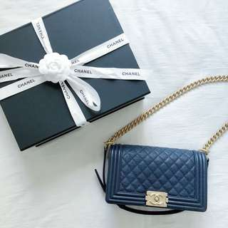 CHANEL Boy Medium 25cm in Navy