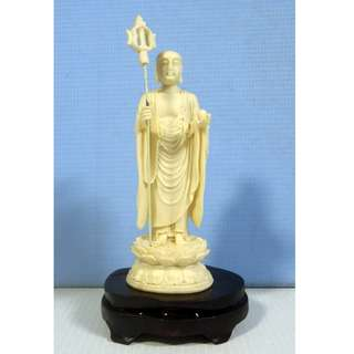 Fine casting Buddha Statue on display wood stand cold cast resin new old stock