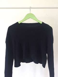 Brandy Melville Cropped Dark Blue Sweater