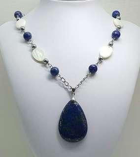 Natural Lapis Lazuli & White Shell Necklace